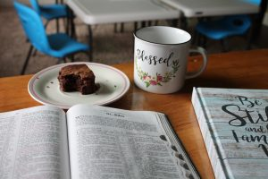 "Christian desk set-up with bible, ""blessed"" mug--proofreading and copy editing"