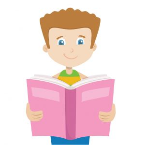 boy with brown hair reading pink children's book, animated, children's book levels